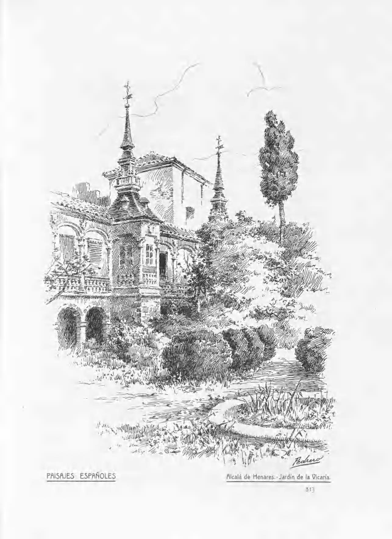 Un dibujo de 1913 del Jardín de la Vicaría, Alcalá de Henares
