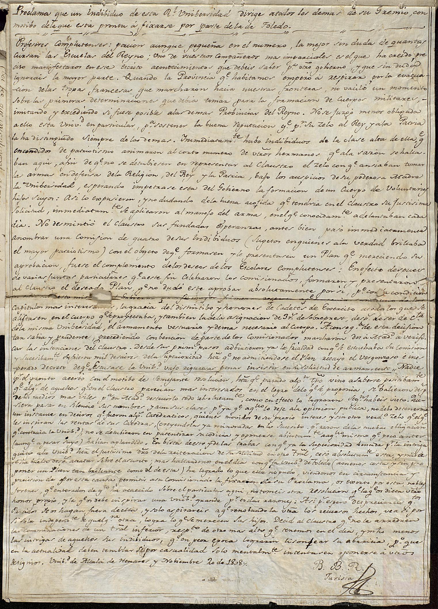 Proclama de un profesor de la Universidad de Alcalá de Henares en 1808