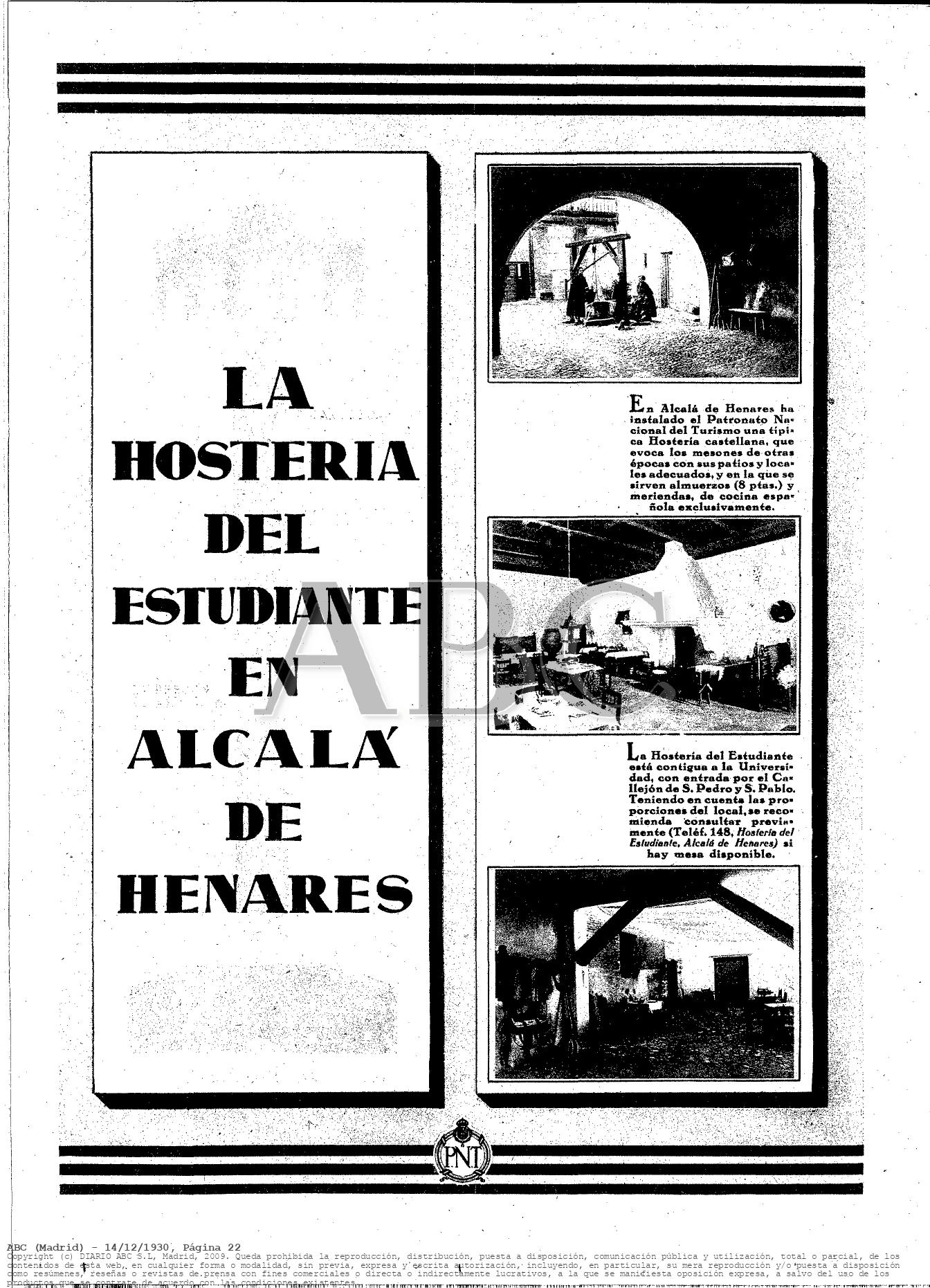 La Hostería del Estudiante y la publicidad en los años 30 del siglo XX