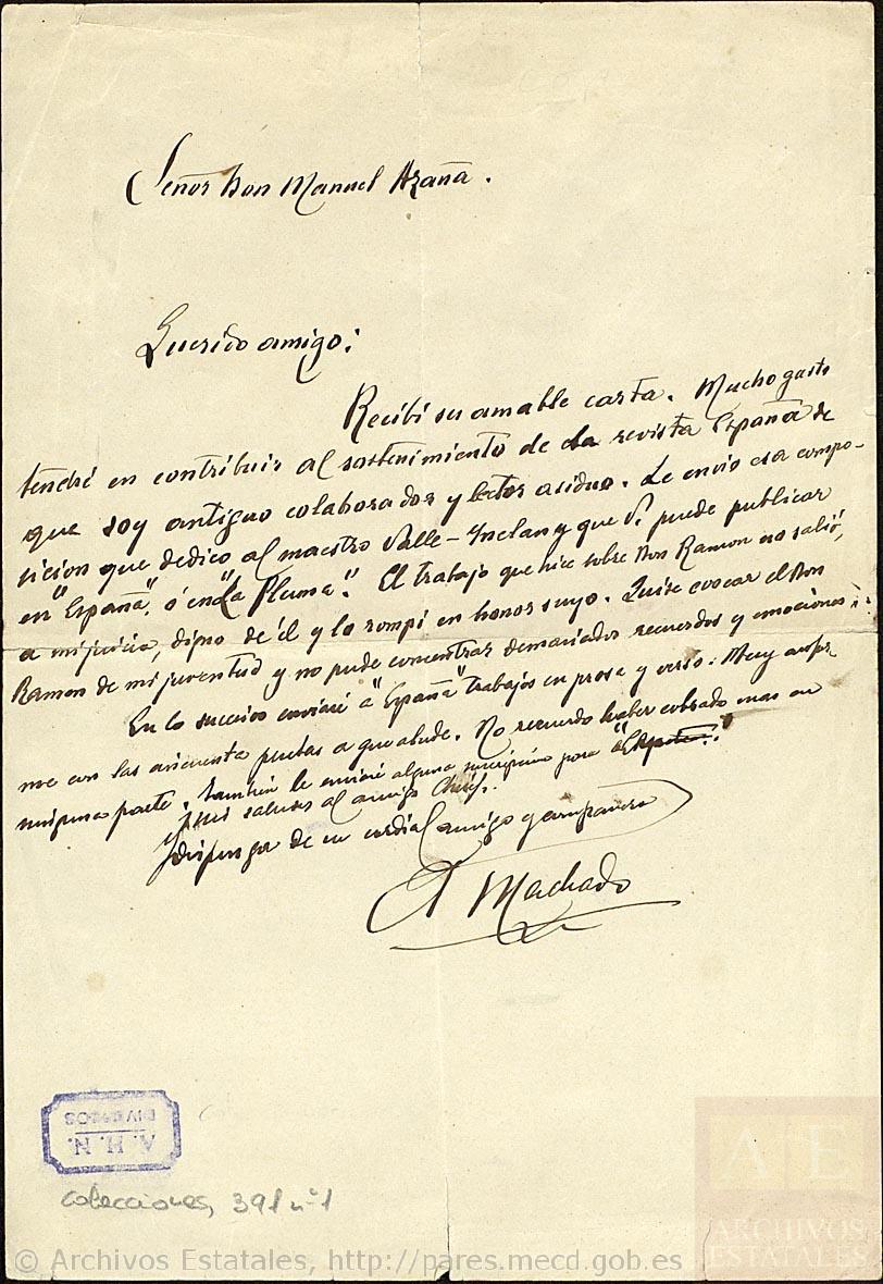 Antonio Machado y Valle-Inclán a Manuel Azaña