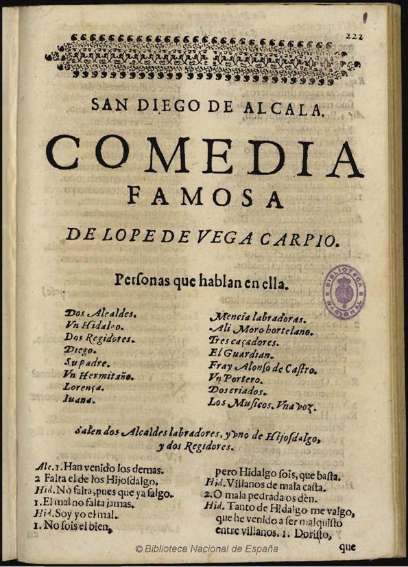 San Diego de Alcalá, comedia famosa de Lope de Vega