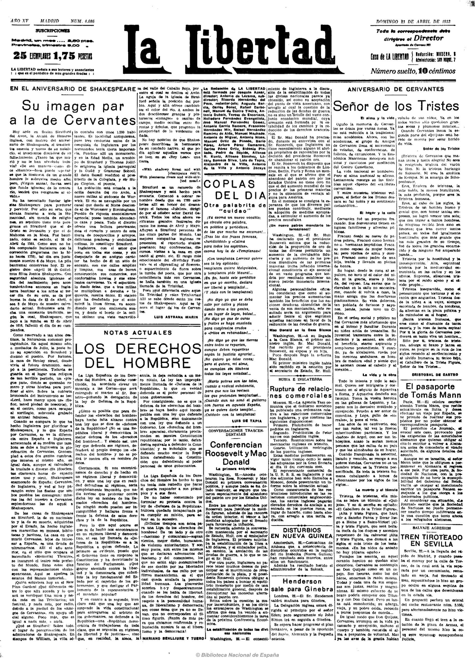 Artículo de Luis Astrana Marín un 23 de abril de 1933