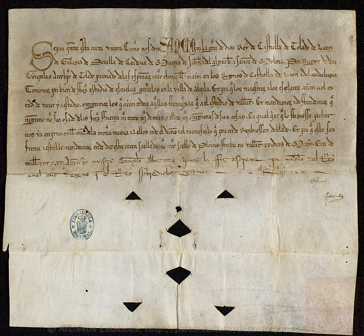 Carta de Sancho IV, estudios de Alcalá de Henares
