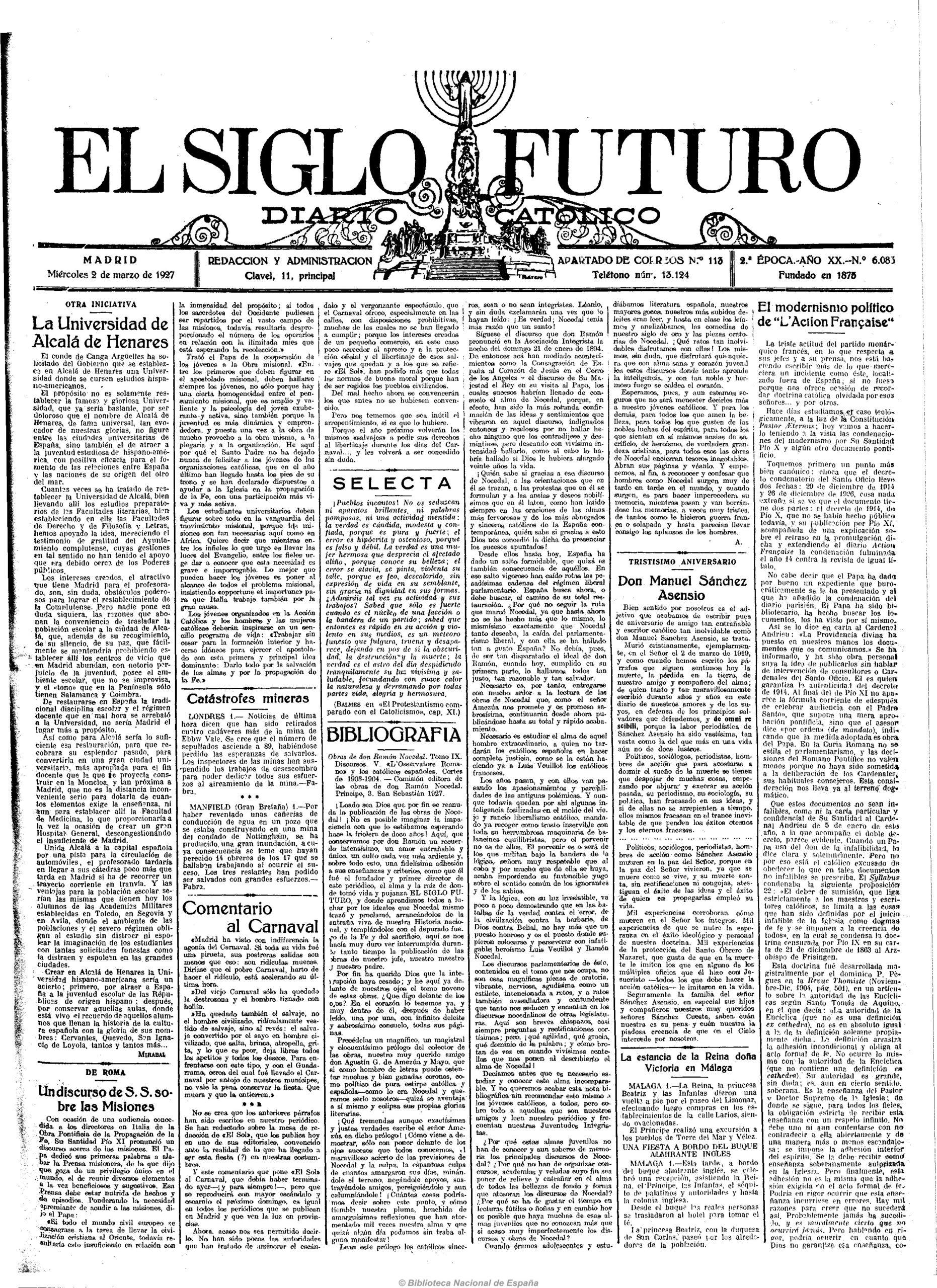 Una iniciativa de 1927 para recuperar la Universidad de Alcalá de Henares